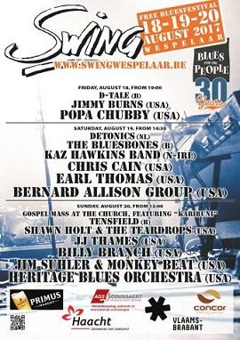 Earl Thomas, Billy Branch, Jim Suhler & Monkey Beat, Heritage Blues Orchestra at 2017s Swing Festival in Westpelaar in Belgium